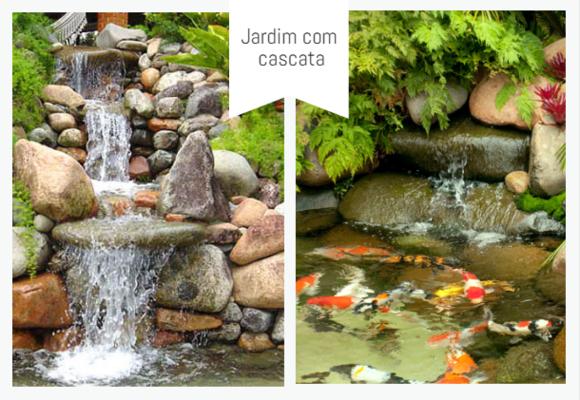 jardim com lago e cascata