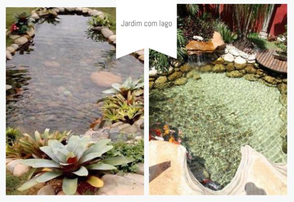 jardim com lago pequeno