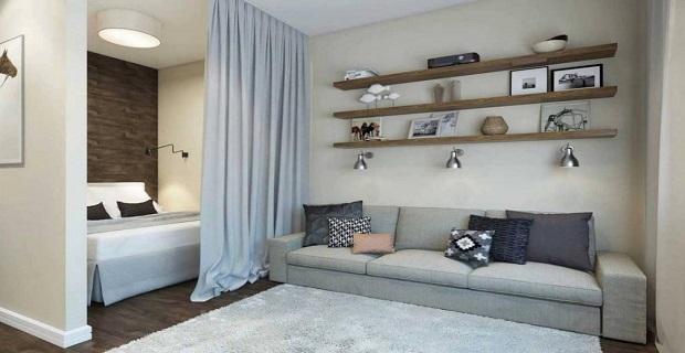 Яркое оформление квартиры-студии